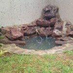 Natural stone water feature townhouse garden